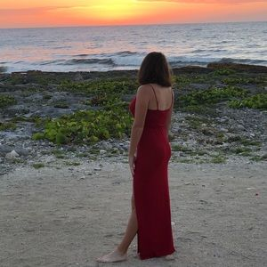 Watch the sunset red maxi dress